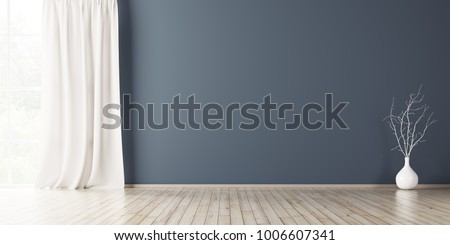 Empty interior background, room with blue wall, vase with branch and window 3d rendering Сток-фото ©
