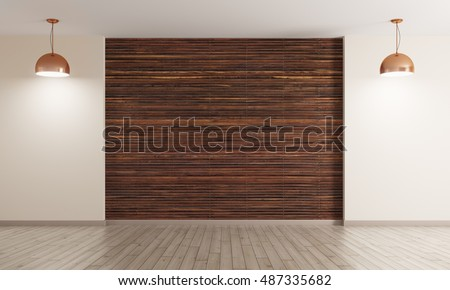 Empty interior background, room with brown wood paneling wall and hardwood flooring, two copper lamps 3d rendering
