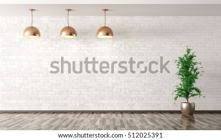 Empty interior background, room with copper metal lamps over white brick wall and plant 3d rendering