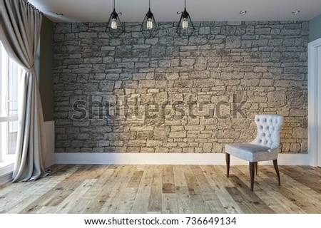 empty interior design living room. balcony with large windows. Scandinavian style. 3D rendering