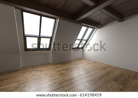 Empty interior of a converted attic with sloping windows, exposed beams and wood ceiling and hardwood parquet floor, 3d rendering