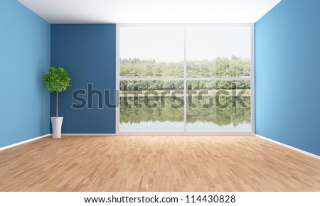 Empty interior of a lake house - rendering - the image on background is a my photo - stock photo