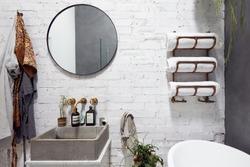 Empty Interior Of Contemporary Bathroom With Mirror And Wash Basin