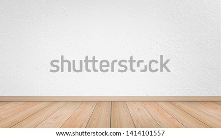 Empty interior room with white cement wall texture and brown wooden floor pattern. Concept interior vintage style #1414101557