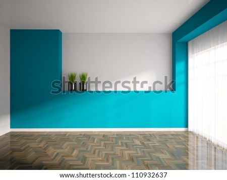 empty interior with a blue wall