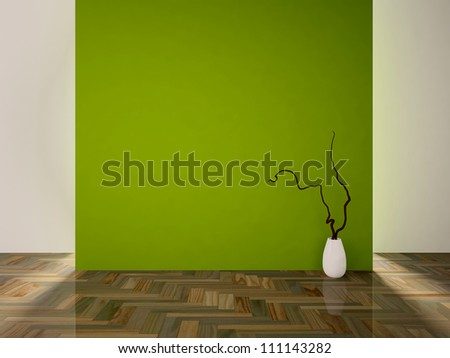 empty interior with a green wall and a white vase with branch