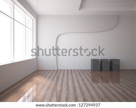 empty interior with abstract box