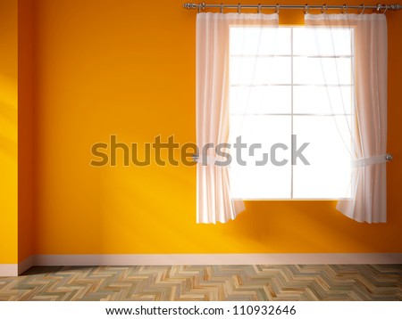 Empty interior with an orange wall and curtains stock - Curtains with orange walls ...