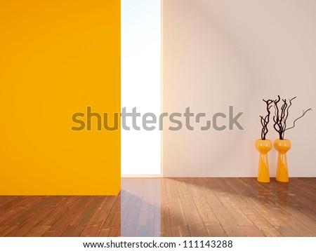 empty interior with an orange wall and vases