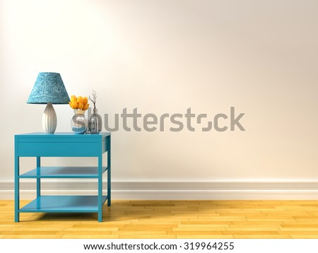 empty interior with blue lamp. 3d illustration