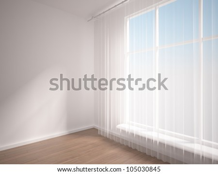 empty interior with curtain
