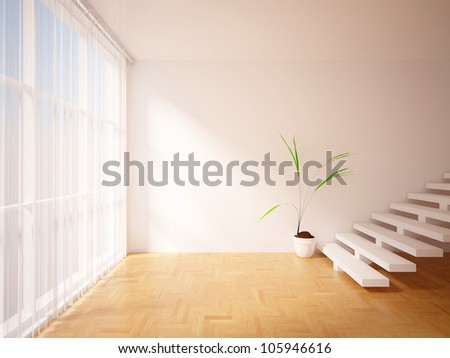 empty interior with curtains, stairs and flower