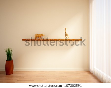empty interior with green plant, curtains, shelf and figures of animals on it
