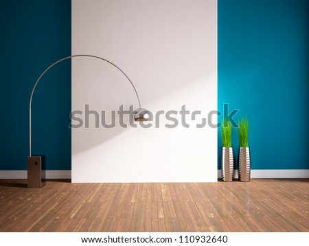empty interior with lamp and grass in vases
