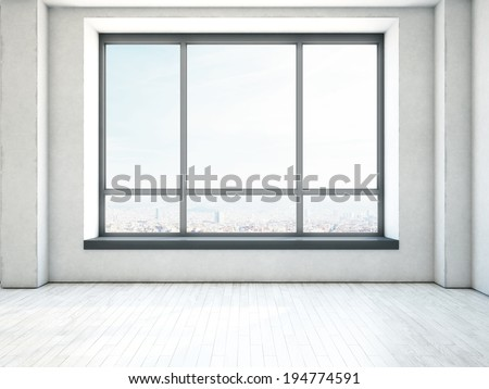 Empty interior with large window