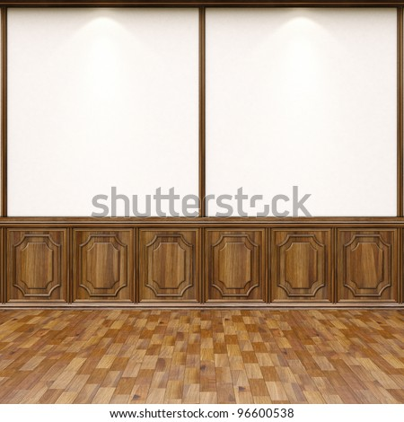 empty interior with parquet flooring and wood paneling.