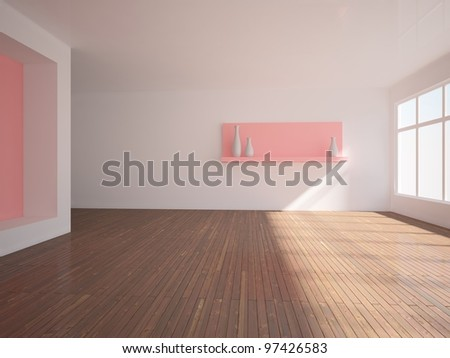 empty interior with pink wall and shelf