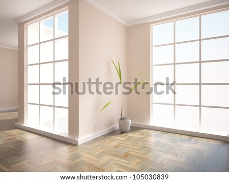 empty interior with plant