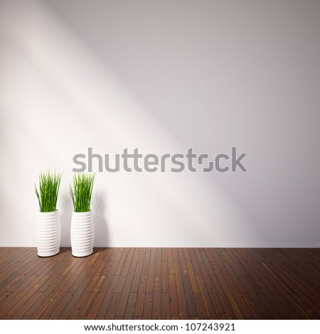 empty interior with plants
