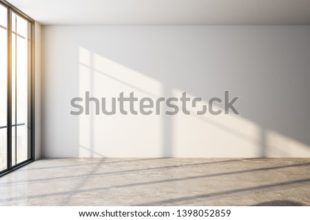 Empty interior with shadows, daylight and copy space on white wall. Mock up, 3D Rendering