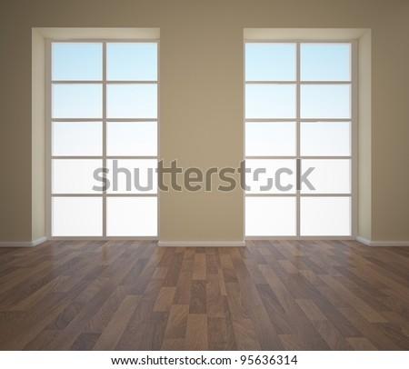 empty interior with windows