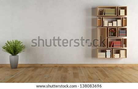 Empty interior with wooden wall bookcase - rendering