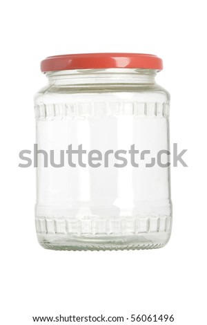empty jar with red lid on white background