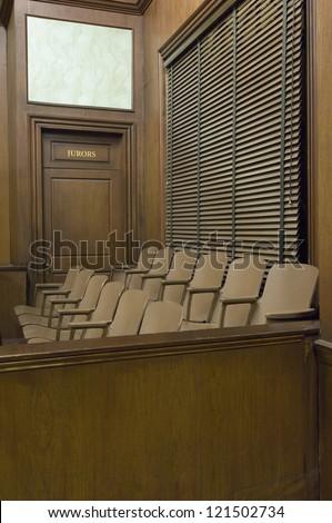 Empty jury box in court room