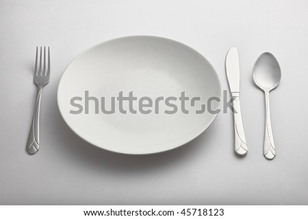 empty kitchen plate with the  fork and spoon