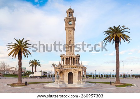 Empty Konak Square view with historical clock tower. It was built in 1901 and accepted as the official symbol of Izmir City, Turkey