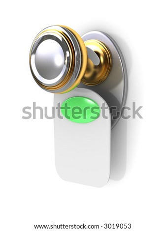 Empty label on a door handle (for your text) - stock photo