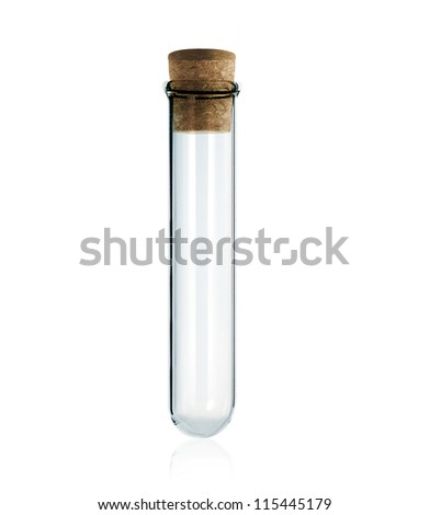 empty laboratory test tube with cork isolated on white background