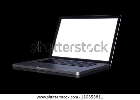 empty Laptop on dark background. (with part)