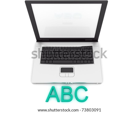 Empty Laptop with a color word ABC - stock photo