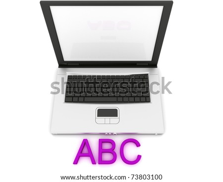 Empty Laptop with a color word ABC