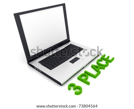 Empty Laptop with a color word 3 Place