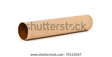 empty large tissue paper roll isolated on white background