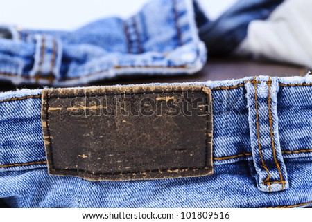 Empty leather label view of jeans for your good band name - stock photo