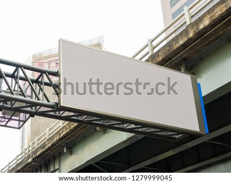 Empty LED billboard screen on street with motorway background ,for advertisement and design. Blank LED promotion banner display on the motorway in Bangkok ,Thailand. - Screen mock up template.