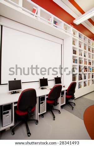 empty library with computers