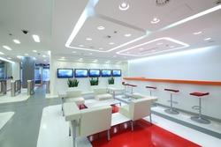 Empty light office in modern style: waiting area