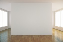 Empty light room with blank white wall in the center, mock up 3D Render
