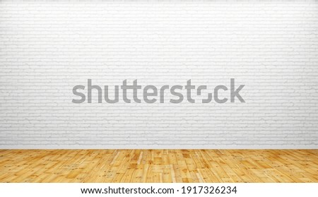Empty light room with white brick wall and wood floor. Simple living room without furniture. Illustration for creative artworks, flyers, online advertising. 3d rendering. Сток-фото ©