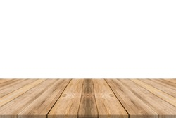 Empty light wood table top isolate on white background. Leave space for placement you background - can be used for display or montage or mock up your products.