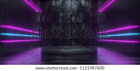Empty Lighted Dark Grunge Concrete Room With Long Bright Glowing Neon Lights  3D Rendering Illustration