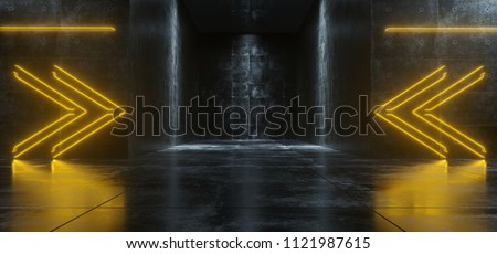 Empty Lighted Dark Grunge Concrete Room With Neon Lights Pointing Arrows In The Middle. 3D Rendering Illustration