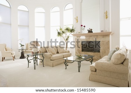 Empty living room in luxurious home #15485590