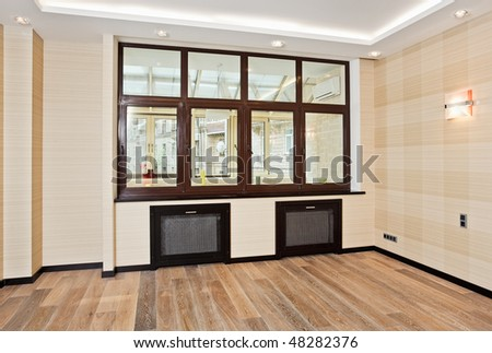 Empty living room interior in modern style with window