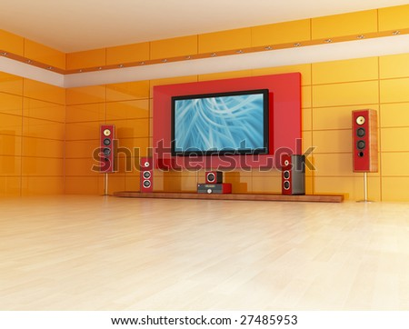 empty living room with home theater system - digital artwork