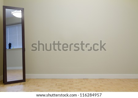 Empty Living Room with mirror in a new apartment